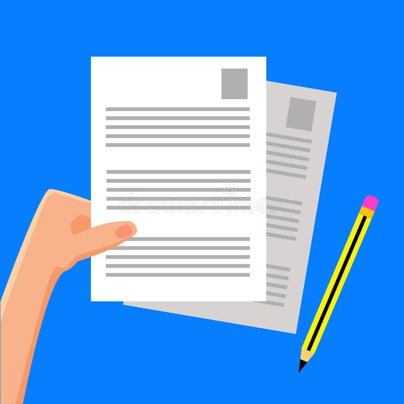 flat vector illustration hand some documents pencil blue background you can use as want 138632578