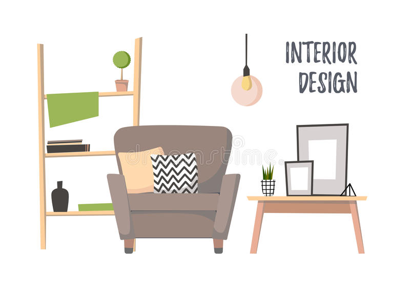 Download Flat Vector Illustration   Home Interior. Cozy Living Room Stock  Vector   Illustration Of