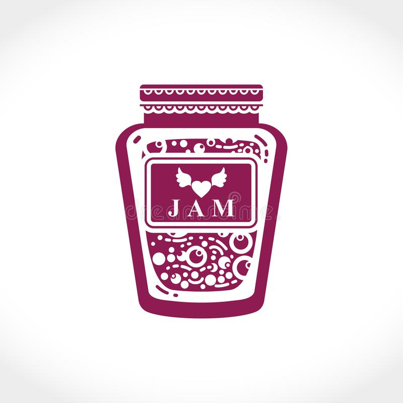 Flat vector illustration of a jar of jam. Berry or fruit jam in a glass jar. royalty free stock photography