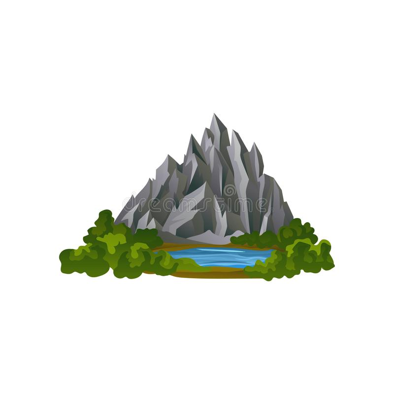 Flat vector illustration of large gray rocky mountain and small lake surrounded with green plants. Natural landscape royalty free illustration