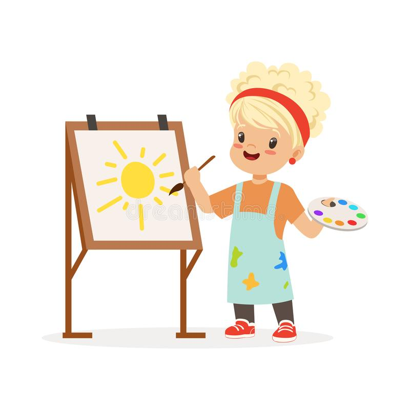 Flat vector illustration of little girl painting on canvas. Kid interested in becoming painter. Dream profession concept stock illustration