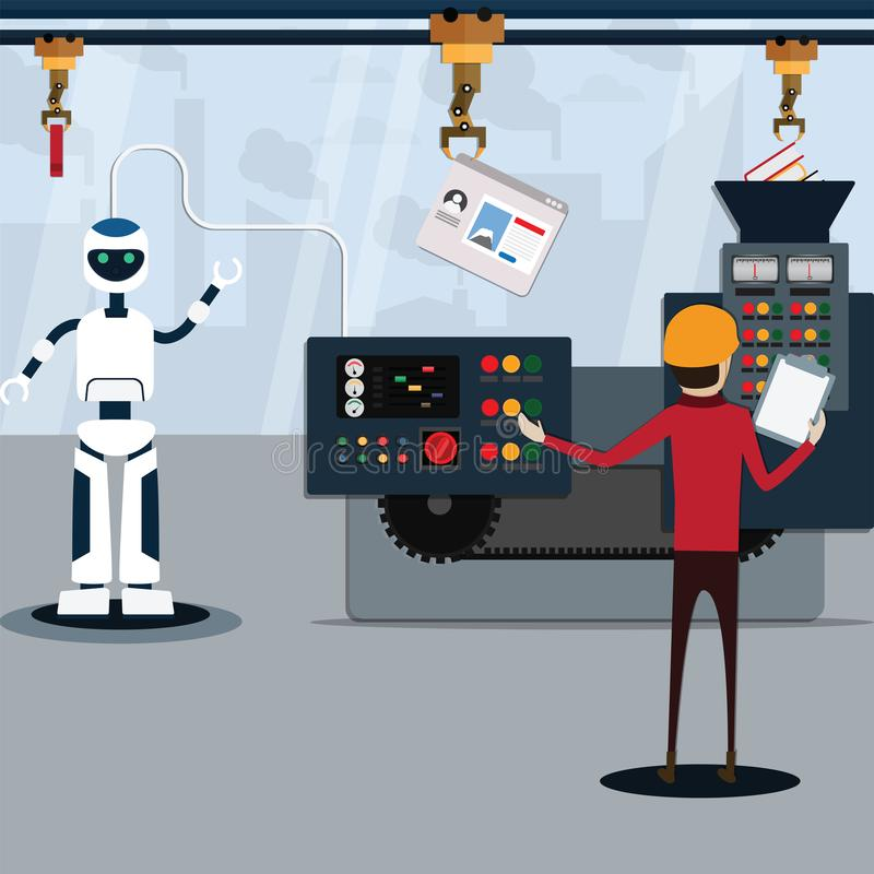 Flat vector illustration machine learning concept,Loading data to automation machine,Artificial intelligence technology, Robot. Technology,Vector illustration vector illustration