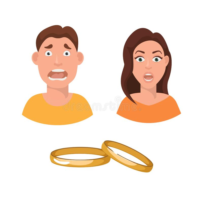 Flat vector illustration of marriage fear and horror. A couple scared the day of their engagement. Woman and man before. Flat vector illustration of marriage stock illustration