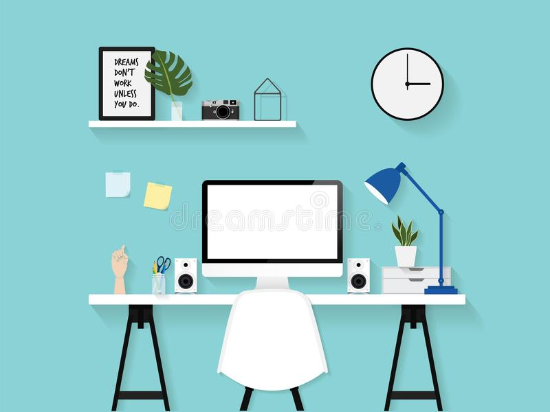 Flat Vector Illustration Of Modern Home Office Work Space