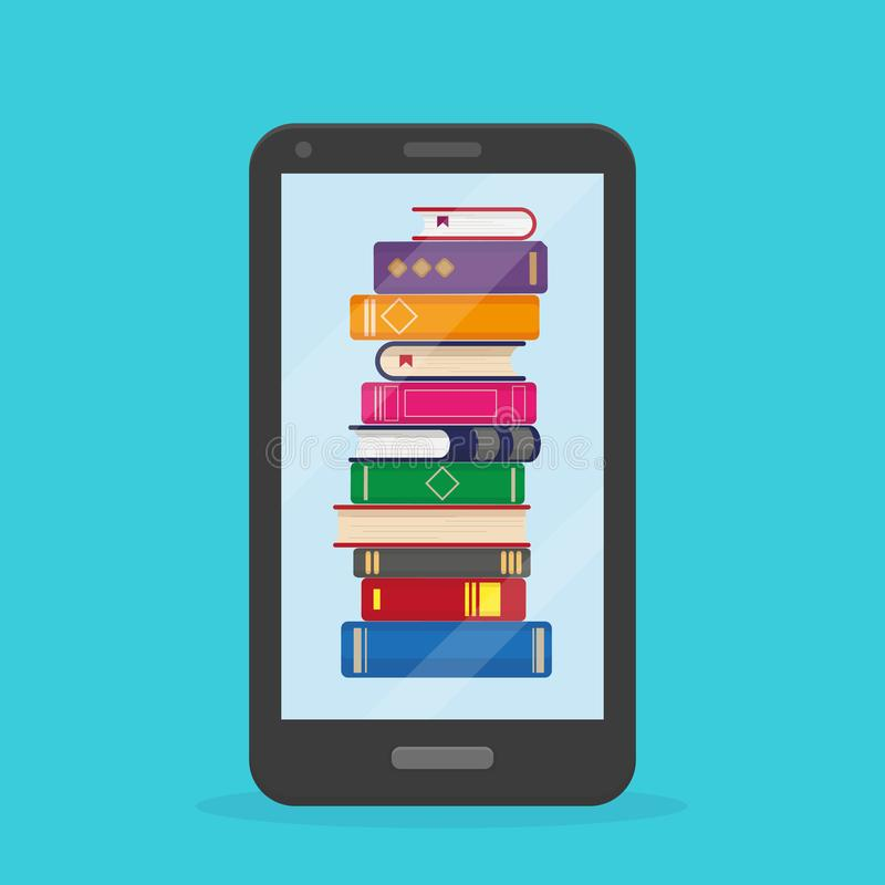 Stack of books into the mobile phone vector illustration