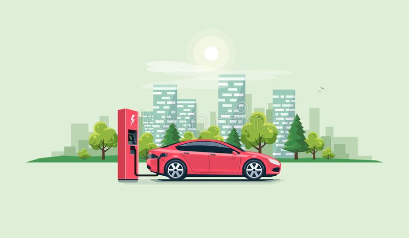 Electric Car Charging at the Charging Station with City vector illustration