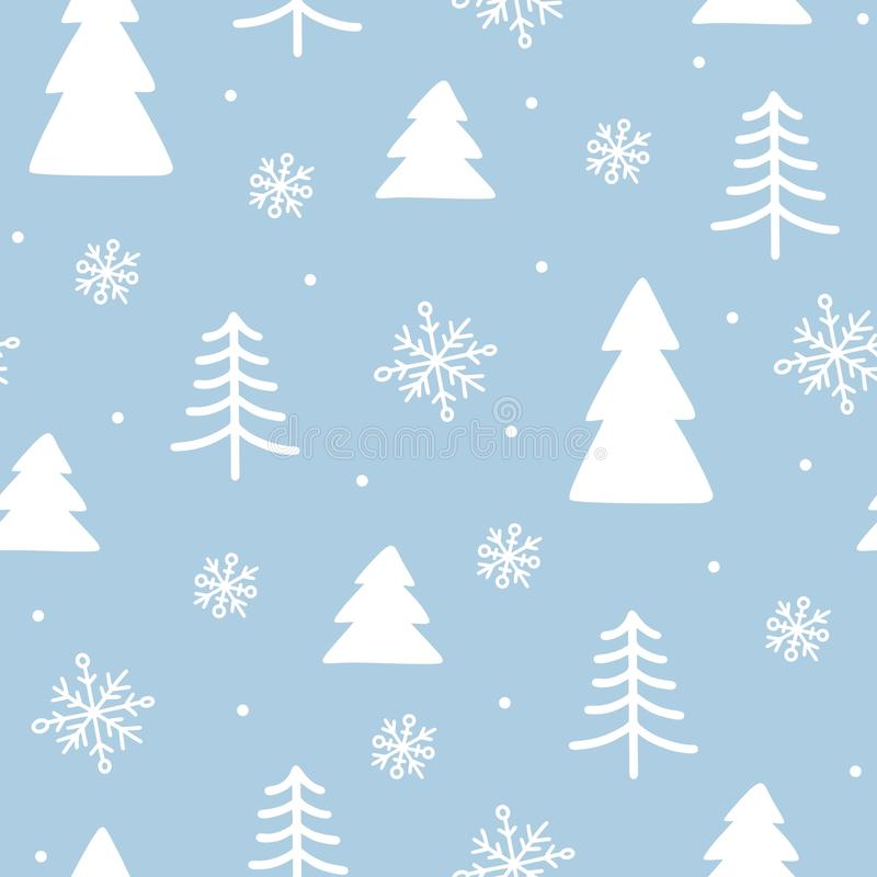 Seamless winter doodle background. New year and Christmas wrapping paper with symbols of winter holidays stock photos