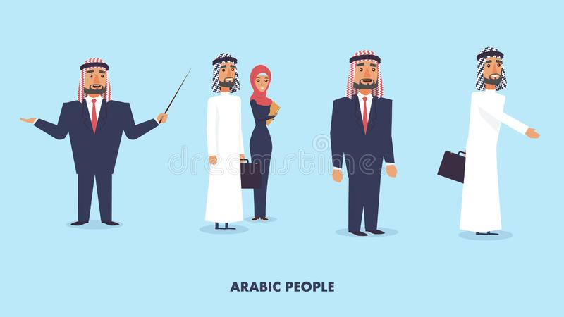 Flat Vector Illustration Set Group Arabic People stock illustration