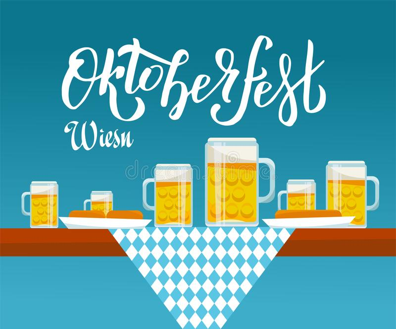 Flat vector illustration Side view on Oktoberfest table with checkered cloth, beer mugs and plates with snack: sausages, pretzels vector illustration