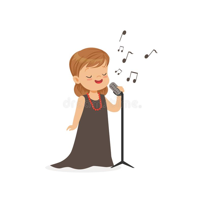 Flat vector illustration of singing little girl with retro microphone isolated on white. Kid dreaming to become famous. Singing little girl with retro microphone stock illustration