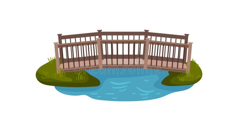 Flat vector illustration of small wooden bridge with railings. Footbridge over pond. Landscape element. Cartoon illustration of small wooden bridge with railings vector illustration