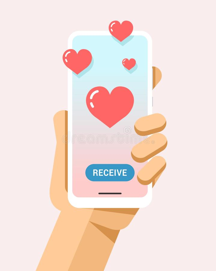 Hand holds the smartphone with many hearts on the screen. Flat vector modern phone mock-up illustration. Flat vector illustration of smartphone mockup in human vector illustration