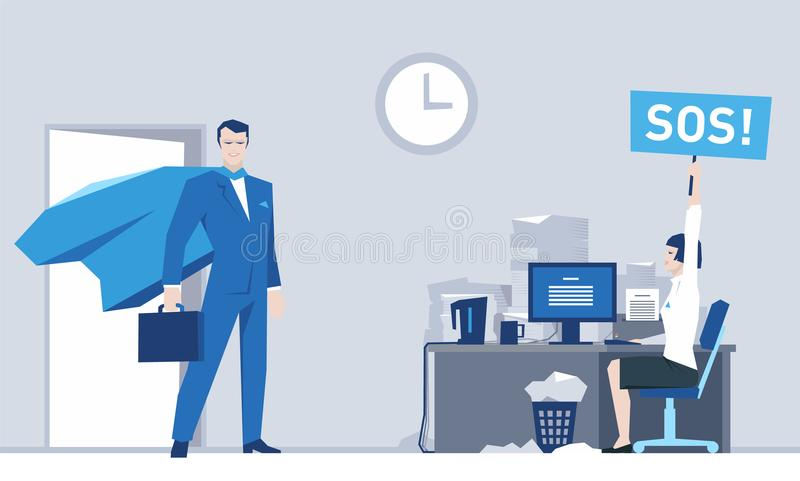 Superhero Comes to the Aid of an Office Worker vector illustration