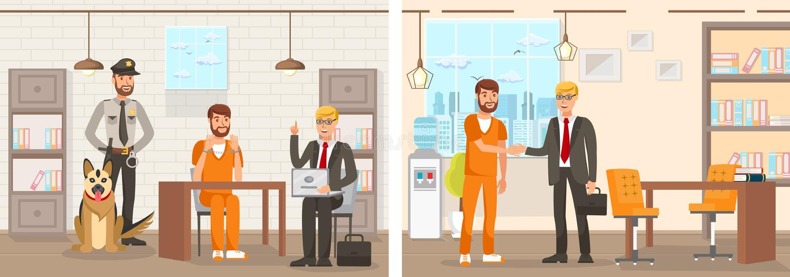 Flat Vector Illustration System Works Law Firm. Confinement Cell Man in an Orange Jumpsuit is Sitting at Table in Handcuffs Lawyer with Laptop Explains Right vector illustration