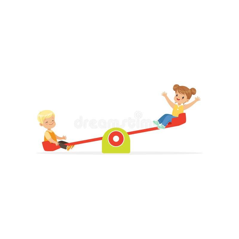Flat vector illustration of toddler boy and girl having fun on rocking seesaw. Kids playing outdoor game together on. Toddler boy and girl having fun on rocking royalty free illustration