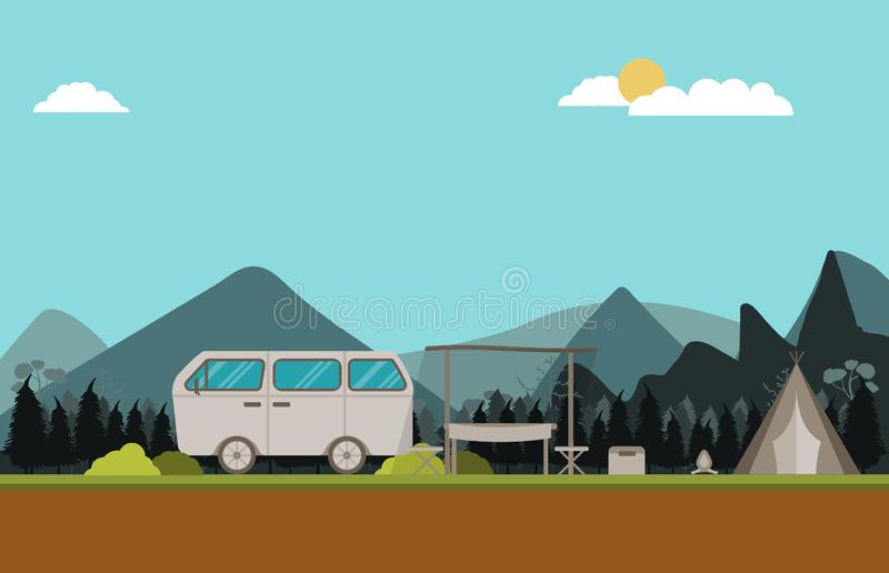Flat vector of vintage van and tent outdoor park. Flat vector illustration of vintage van and tent outdoor park stock illustration