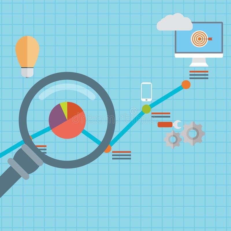 Flat vector illustration of web analytics information and development website statistic - vector illustration royalty free illustration