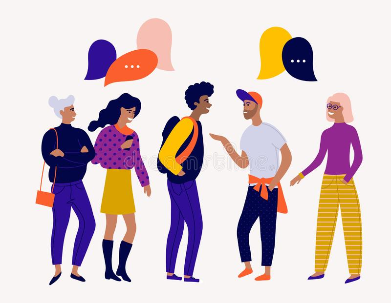 Flat vector illustration with young people characters with colorful dialog speech bubbles. Discussing, chatting, conversation, dia. EPS 10 Flat vector stock illustration