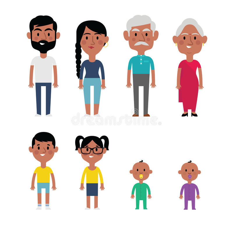 Flat Vector Indian Family Members. Parents, Grandparents, Children royalty free illustration