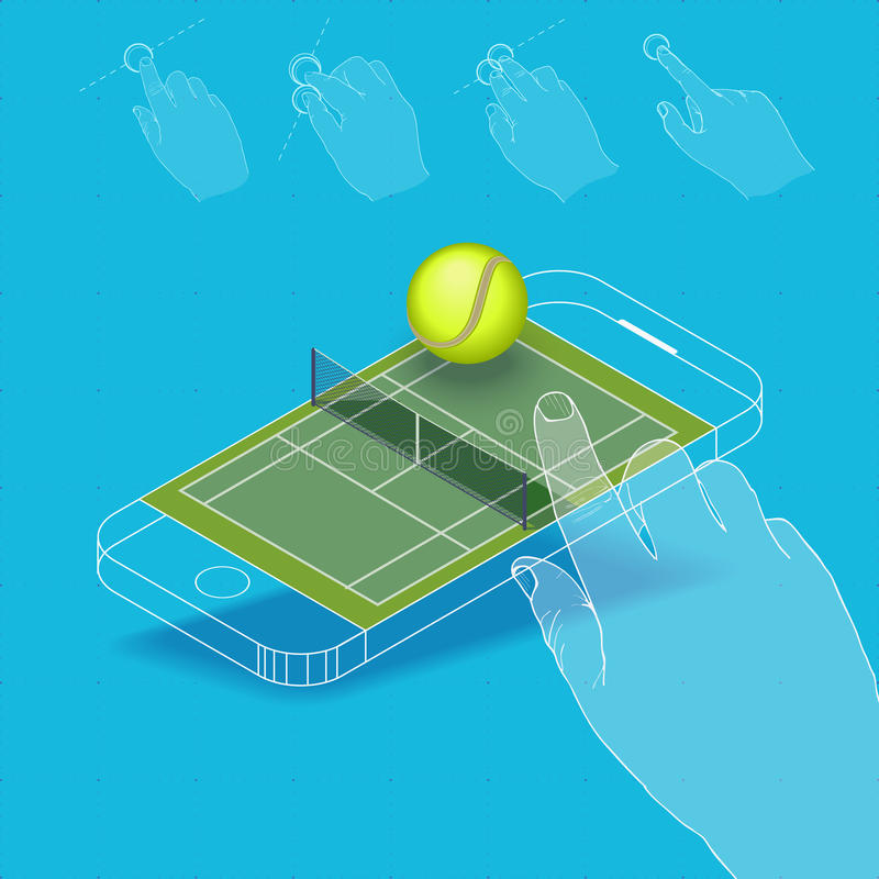 Flat vector Isometric composition on screen phone. royalty free illustration