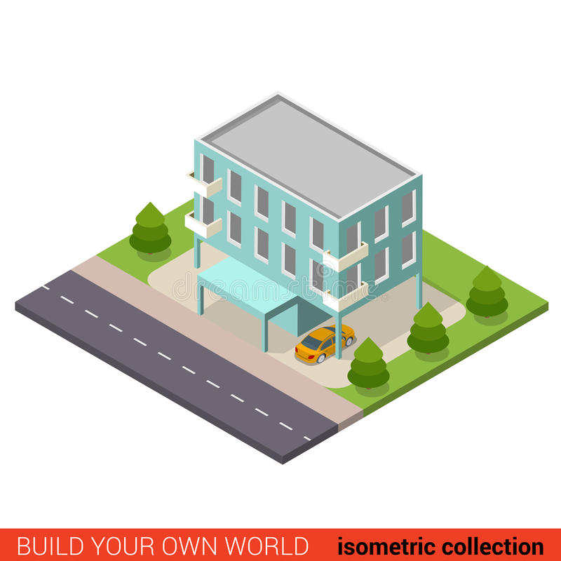 Flat vector isometric municipal building office condo hostel. Flat 3d isometric creative municipal office condo condominium hostel dormitory modern building stock illustration