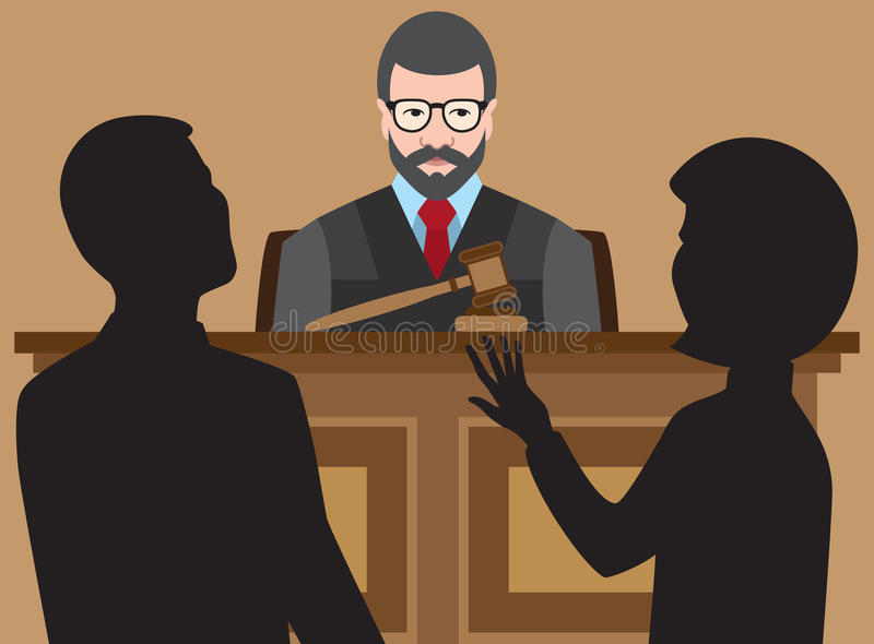 Flat Vector Judge. Judge is listening to two lawyers argue their cases vector illustration