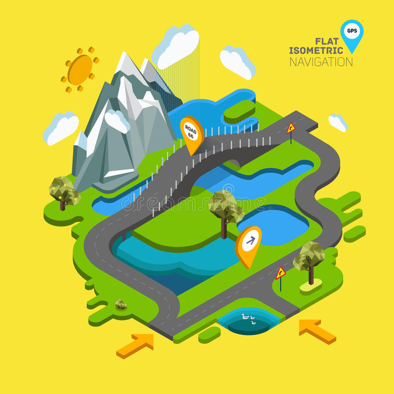 Flat vector landscape 3D. Flat vector landscape with a picture of the nature and landscape of mountains and lakes, road junction GPS navigation infographic 3d stock illustration