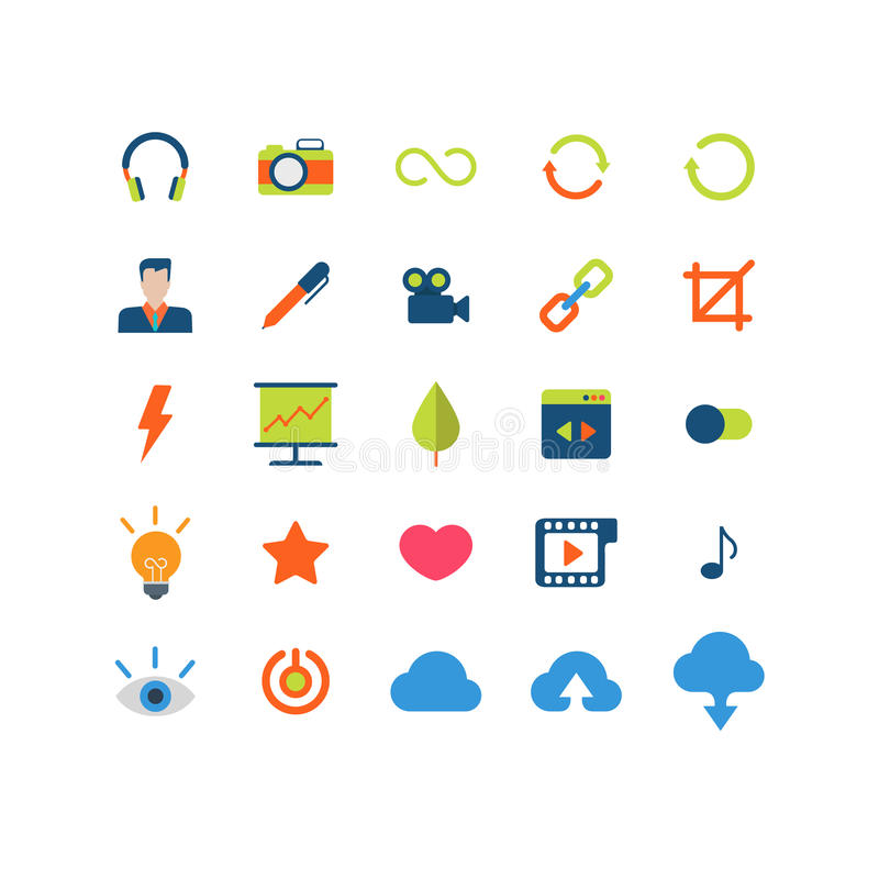 Flat vector mobile web app interface icon pack vector illustration