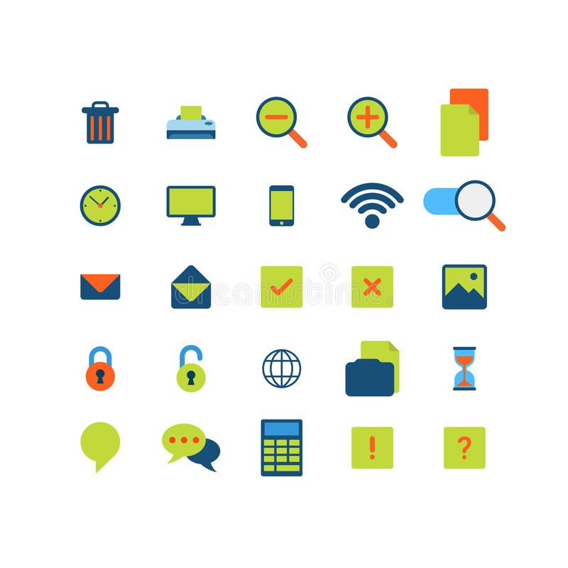 Flat vector mobile web app interface icon pack. Flat style modern mobile web app interface icon pack set. Trash can printer zoom copy clock schedule mobile wifi vector illustration