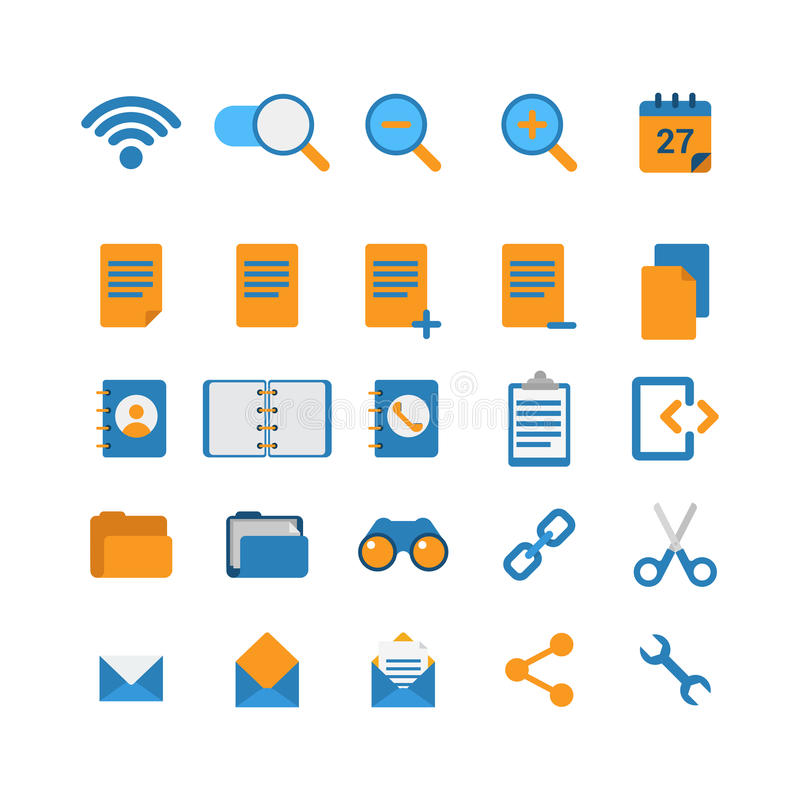 Flat vector mobile web app interface icon: wi-fi zoom cut link royalty free illustration