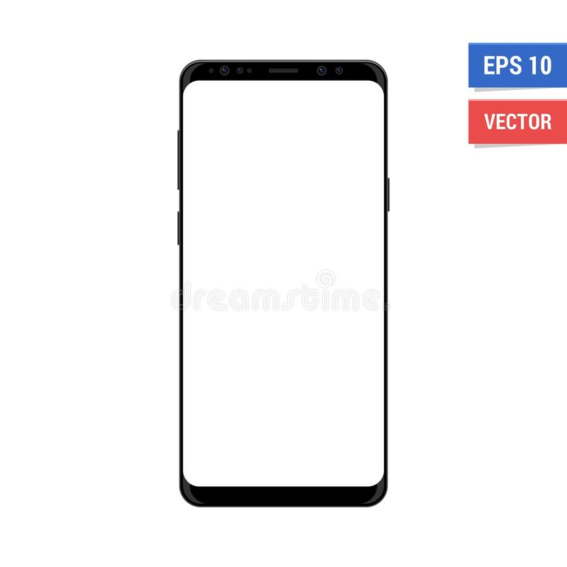 Realistic vector flat mock-up Samsung S9 Plus with blank white screen. Scale image any resolution stock photography