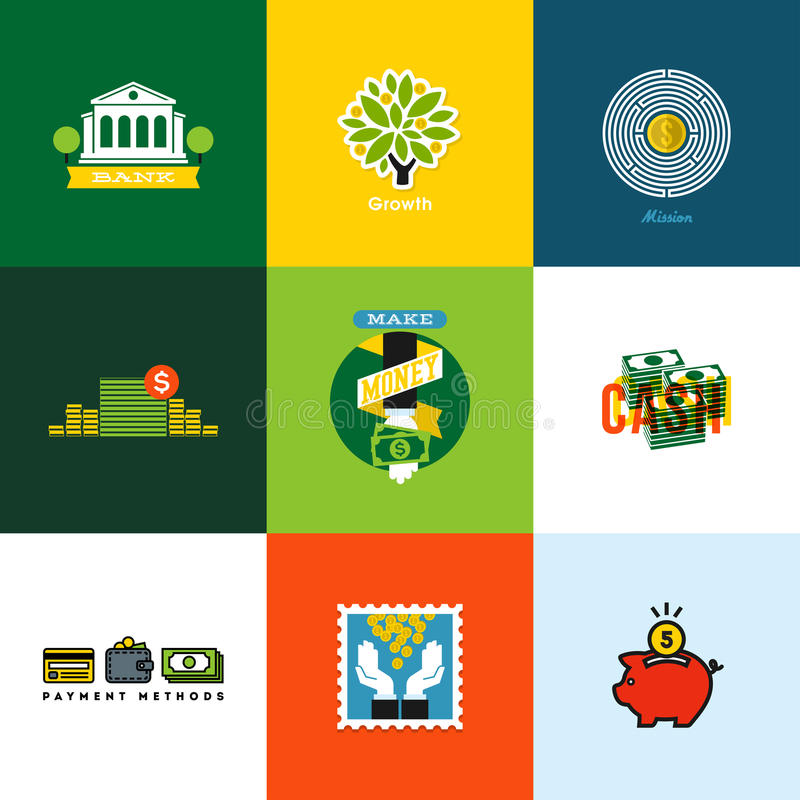 Flat vector money concepts. Creative icons of wallet, banking stock illustration