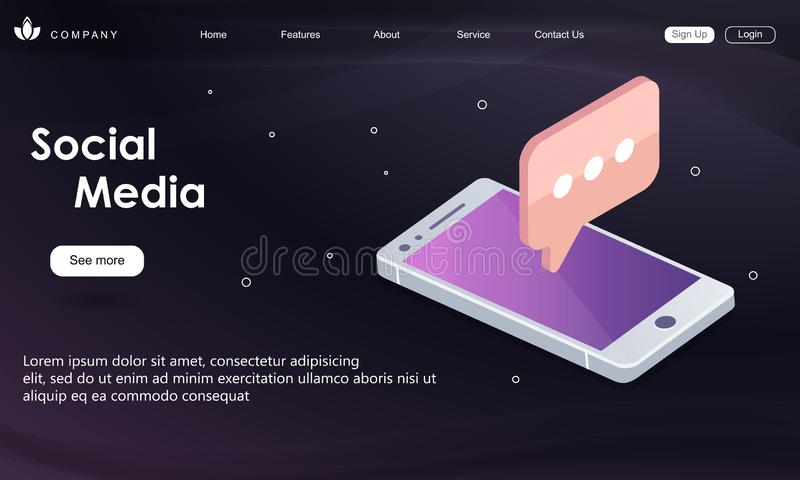 Flat vector neon website template and landing page design of smartphone with speech bubble message from friends. In social networks. New app or social networks stock illustration
