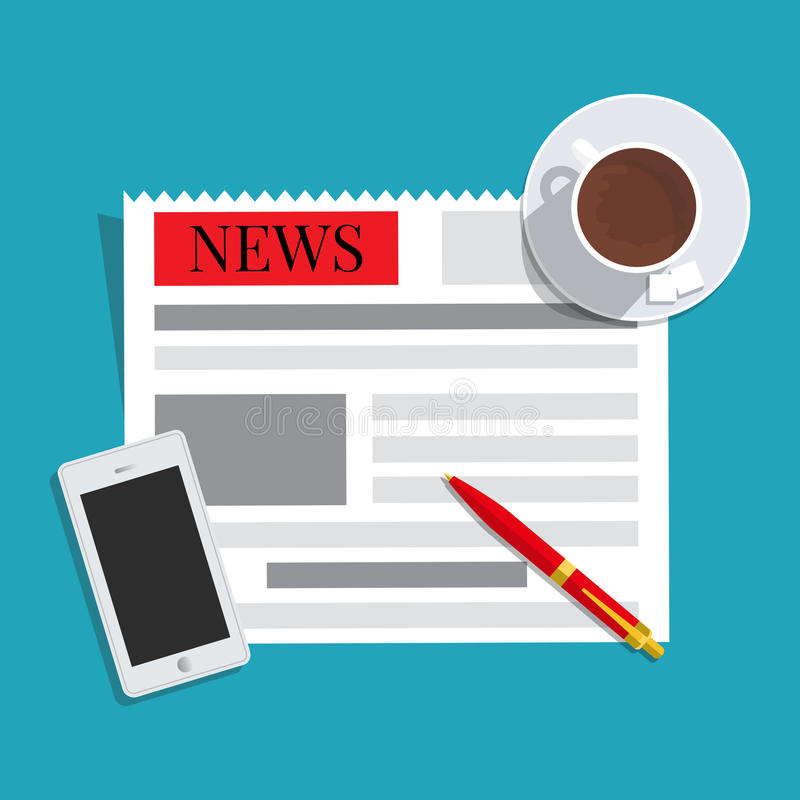 News concept. Newspaper, cup of coffee, smart phone and pen vector illustration