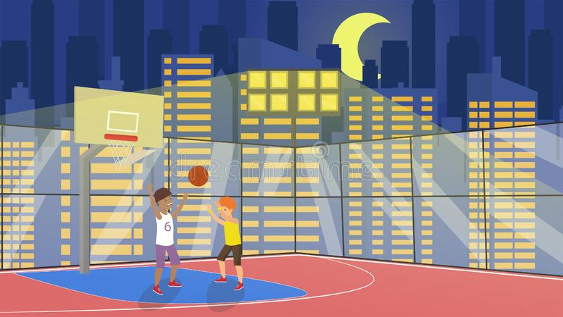 Flat Vector School Children Play in Basketball. vector illustration