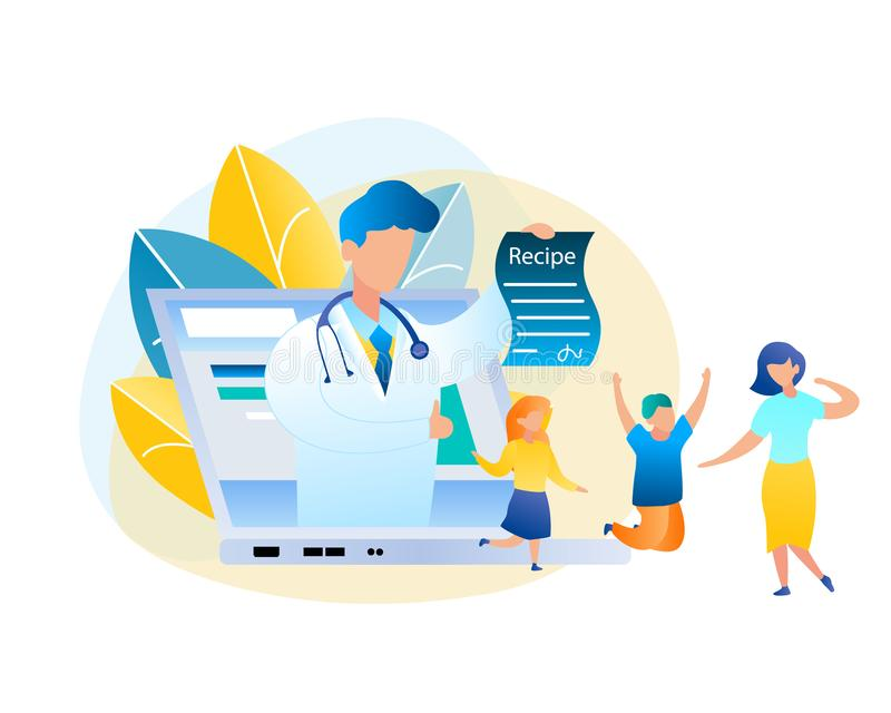 Flat Vector Online Consultation Doctor and Patient vector illustration