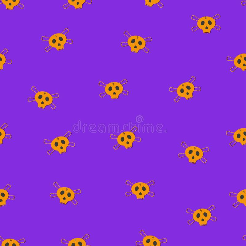 Flat vector. Orange skulls seamless pattern on purple background. royalty free illustration
