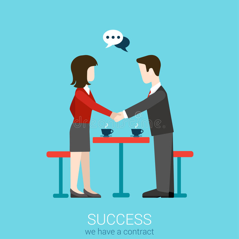 Flat vector partnership, success and handshake contact concept. Flat web partnership success business deal to succeed infographic concept vector. Two businessmen vector illustration