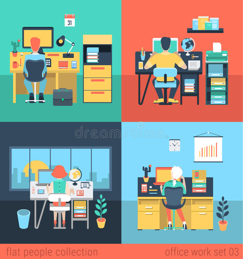 Flat Vector People Work At Home Or Office In Workplace Stock ...