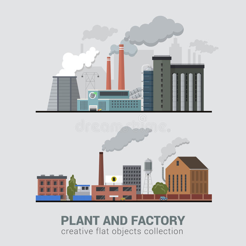 Flat vector pollution heavy industry, plant, factory production. Flat style modern multi color set of stylish pollutive heavy industry plant factory manufacture stock illustration