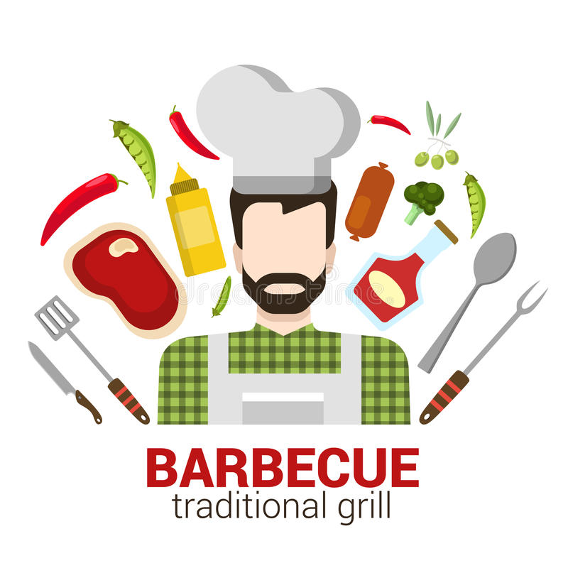 Flat vector professional cook: restaurant barbecue grill icon vector illustration