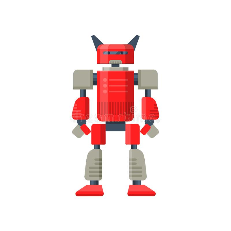 Flat vector of red robot transformer. Futuristic metal android. Steel warrior. Artificial intelligence. Illustration of bright red robot transformer. Futuristic stock illustration