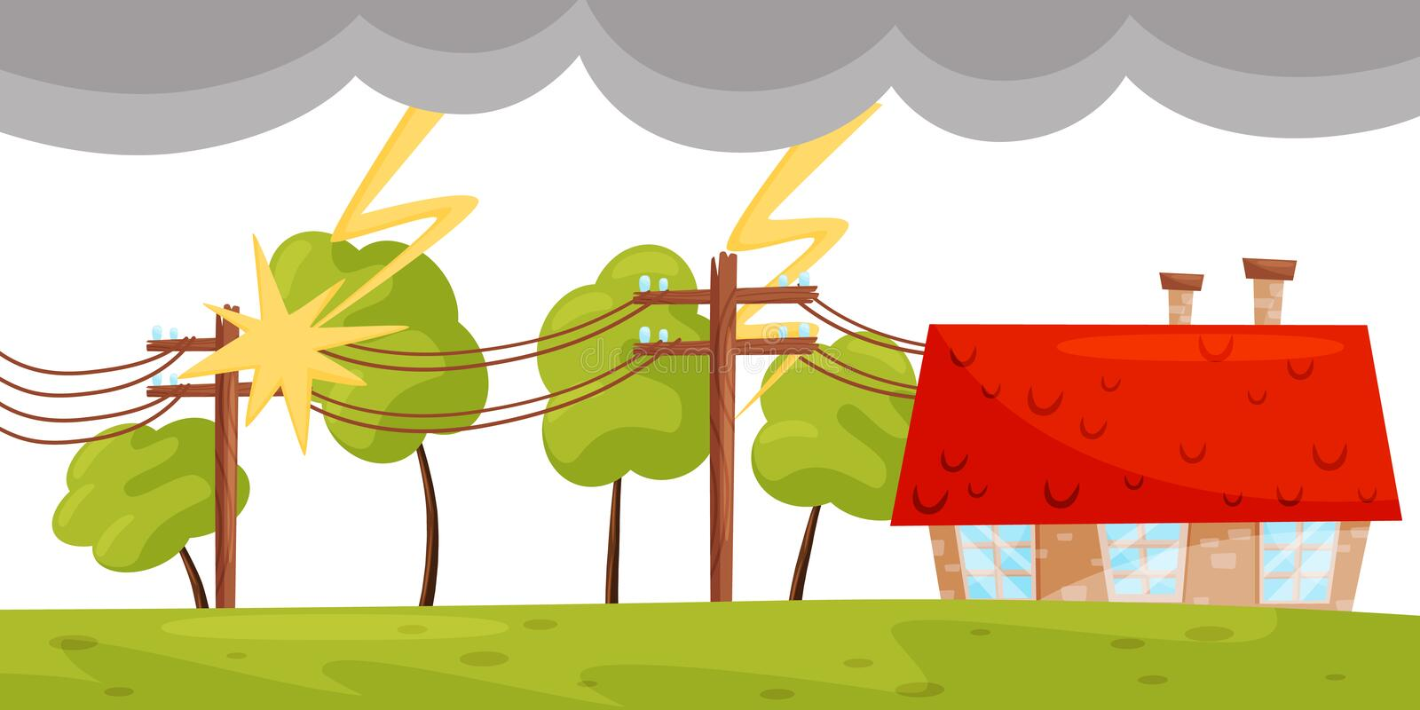 Flat vector scene with small living house, lightning strikes on electricity line. Strong thunderbolt. Natural disaster stock illustration