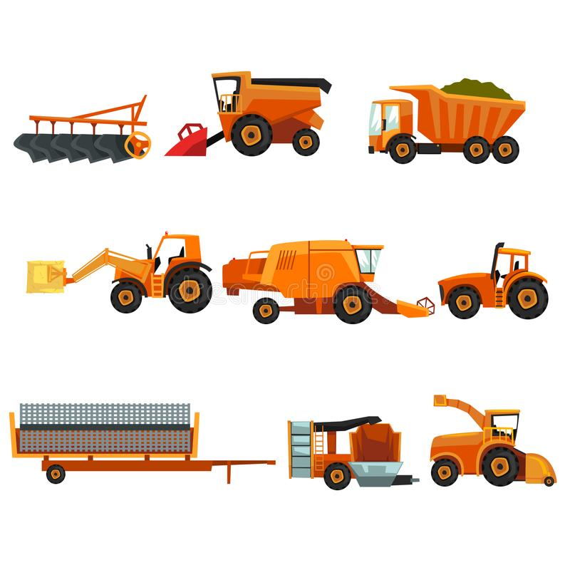 Flat vector set of agricultural transports. Rural machinery. Industrial farm vehicle. Tractor hay baler, truck, combine stock illustration