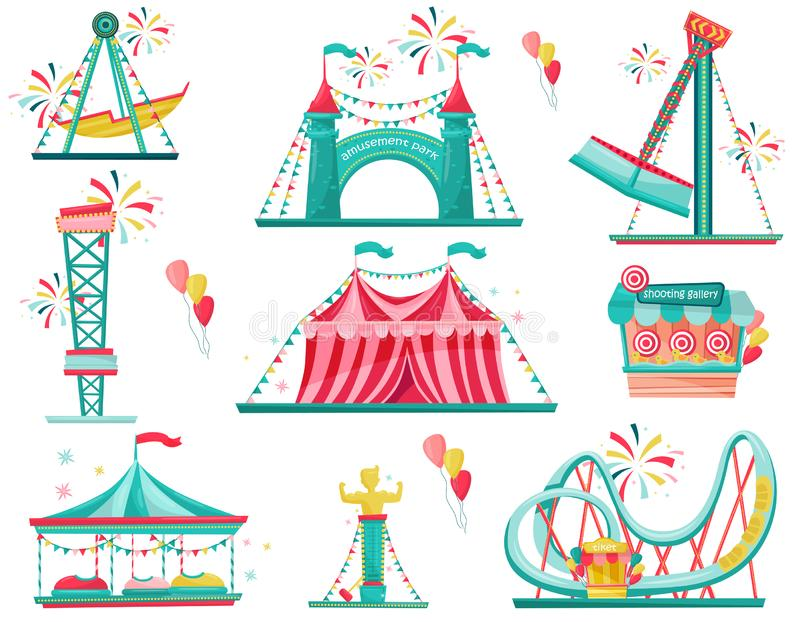 Flat vector set of amusement park icons. Funfair attractions, entrance gate, circus tent and shooting gallery stock illustration
