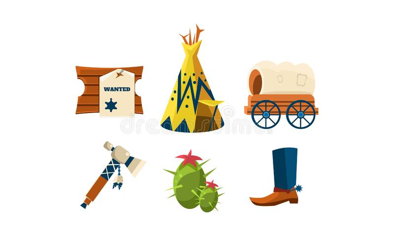 Flat vector set of attributes of wild west. Cowboy s boot, wigwam, green cactus, wooden board with wanted poster and vector illustration