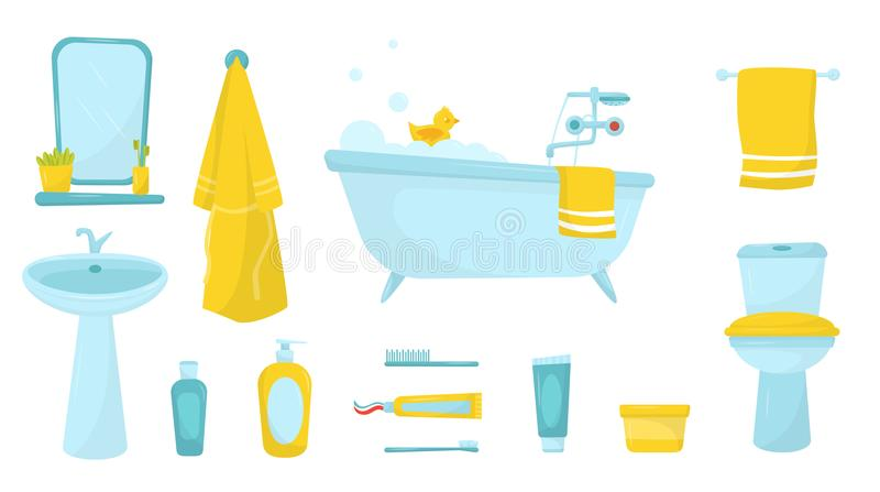 Flat vector set of bathroom items. Bath with foam and rubber duck, bathrobe and towel, cosmetics for skin care and stock illustration