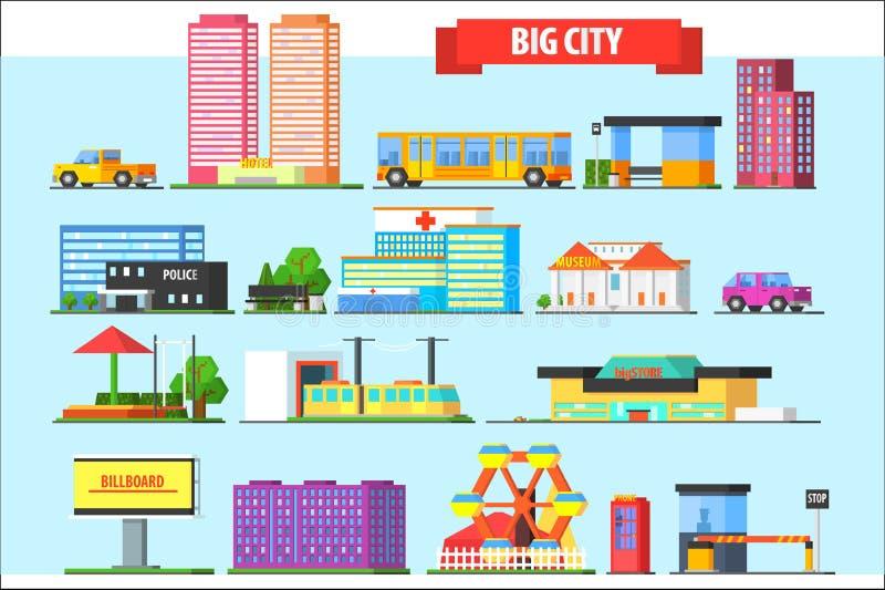 Flat vector set of big city elements. Children playground, amusement park, billboard, urban and private transport royalty free illustration