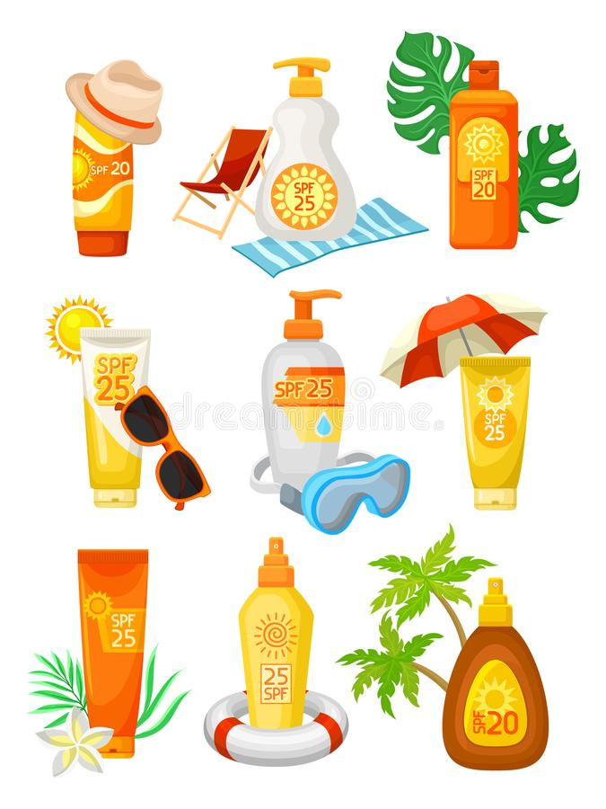 Flat vector set of bottles and tubes of sunscreen with different objects. Cosmetic products. Lotions and creams for skin stock illustration