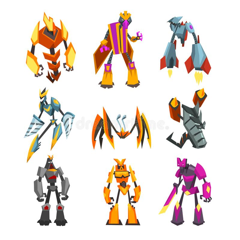 Flat vector set of bright-colored transformer robots. Futuristic monsters with metal body. Strong cyborgs. Fantasy. Collection of bright-colored transformer vector illustration